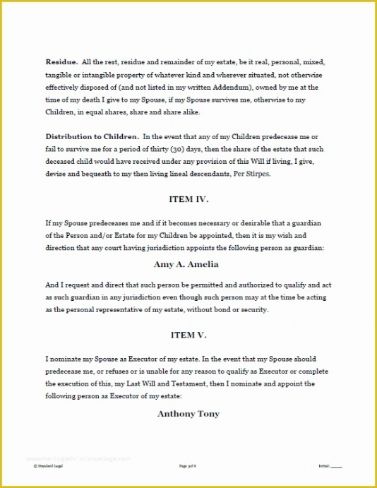 Best Tennessee Last Will And Testament Template Doc Example