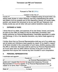 Best Tennessee Last Will And Testament Template Pdf Sample