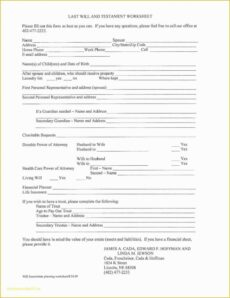 Editable Basic Last Will And Testament Template Excel Sample