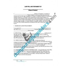 Free Last Will And Testament Oregon Template Doc Sample