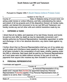 Free Last Will And Testament Oregon Template  Example