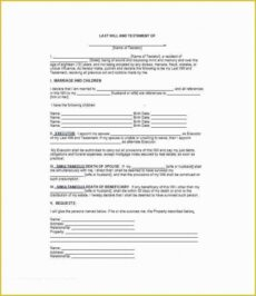 Free Standard Last Will And Testament Template  Sample