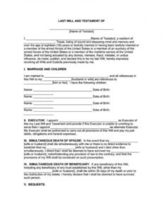 Joint Will And Testament Template Doc Example