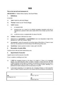 Personal Will And Testament Template Word