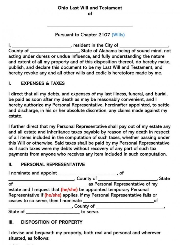 Printable Last Will And Testament Oregon Template Word