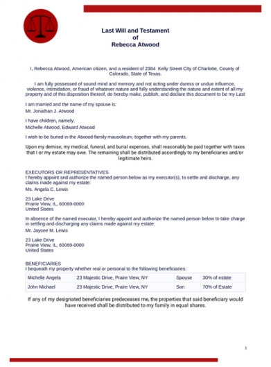Printable Public Will And Testament Template California Excel