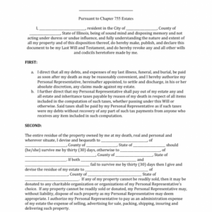 Professional Illinois Last Will And Testament Template Doc Sample