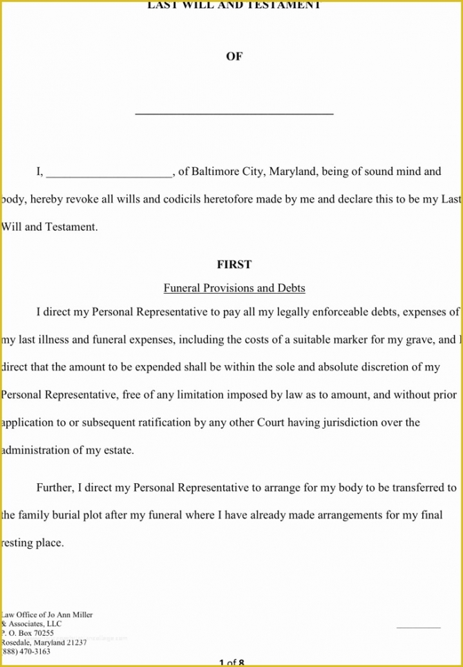 Professional Maryland Last Will And Testament Template  Example