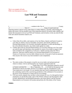 Best Final Will And Testament Template Pdf Example