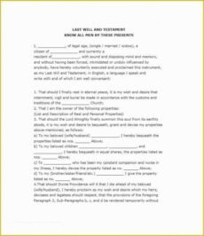 Editable Last Will And Testament Cover Page Template Excel