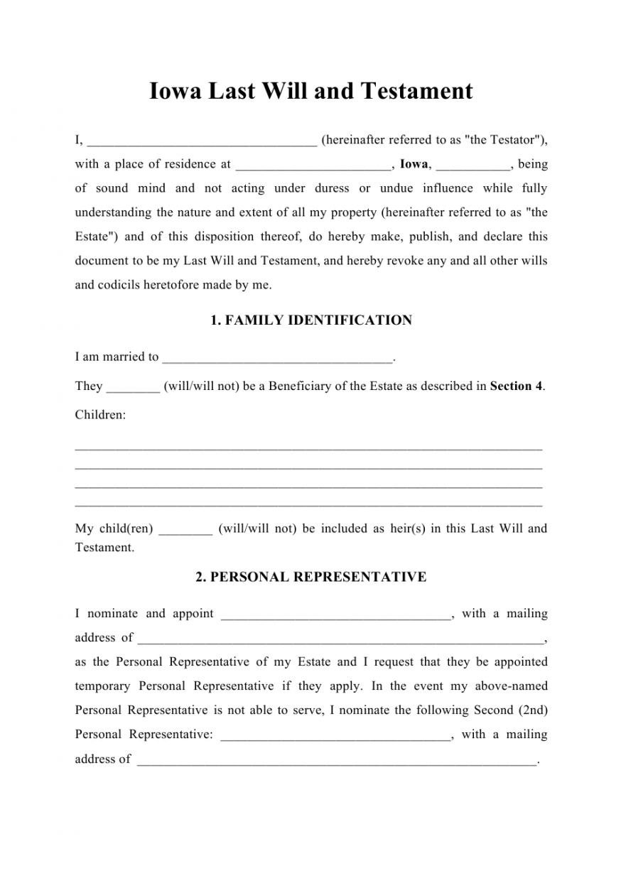 Editable Ohio Last Will And Testament Template  Example