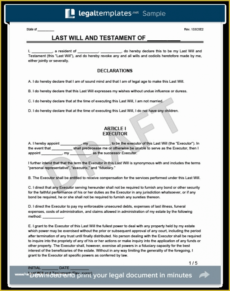 Editable Will And Testament Template Uk  Sample