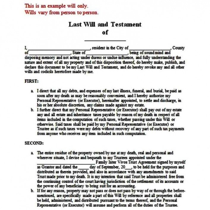 Free Last Will And Testament Cover Page Template