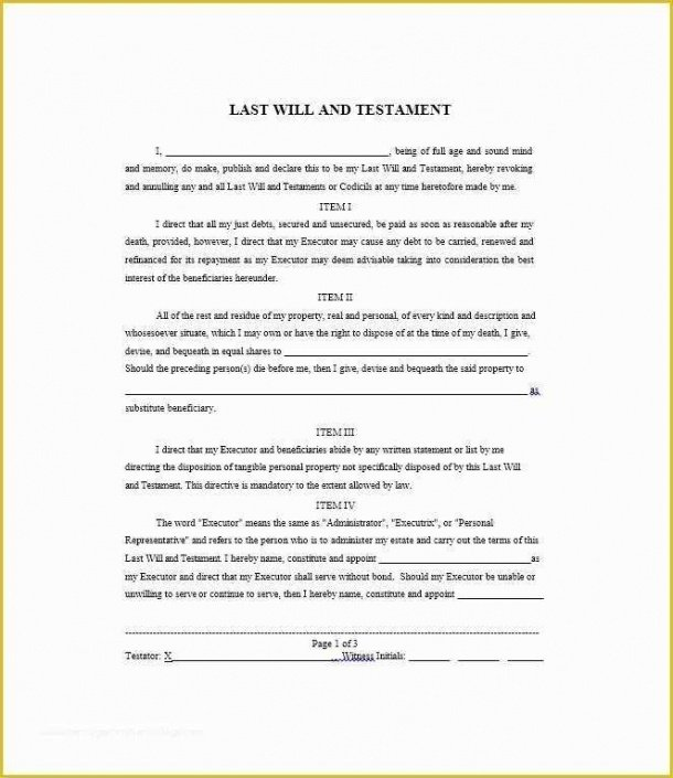 Ohio Last Will And Testament Template Word Example