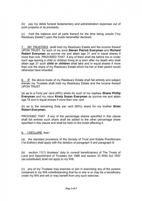 Oklahoma Last Will And Testament Template Excel