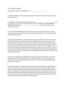 Printable Last Will And Testament Indiana Template Excel Example