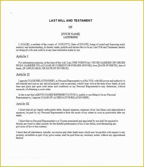 Will And Testament Template Uk Excel Sample