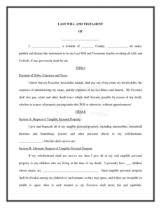 Best Last Will And Testament Template South Carolina Pdf Sample
