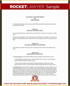 Best Property Will Template Doc Sample