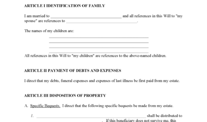 Costum Last Will And Testament Template South Carolina Word Sample