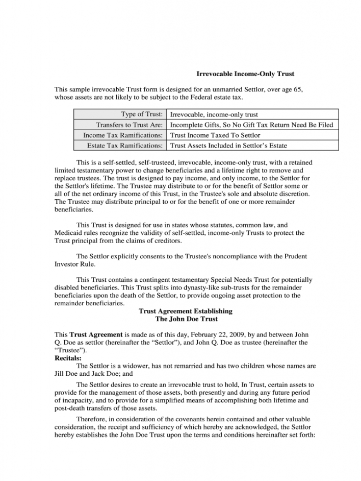 Costum Living Will And Trust Template Excel Sample
