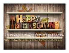 Costum We Will Be Closed For Thanksgiving Sign Template  Sample