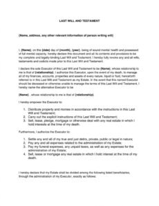 Free Easy Last Will And Testament Free Template Excel Example