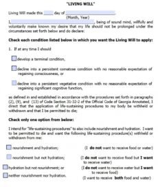 Free Medical Living Will Template Doc Example