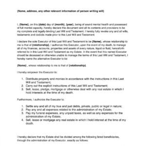Kansas Contractual Last Will And Testament Template  Example
