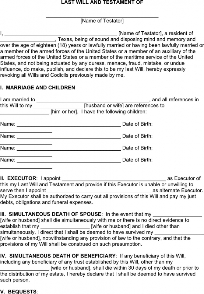 Last Will And Testament Template Uk Doc Sample
