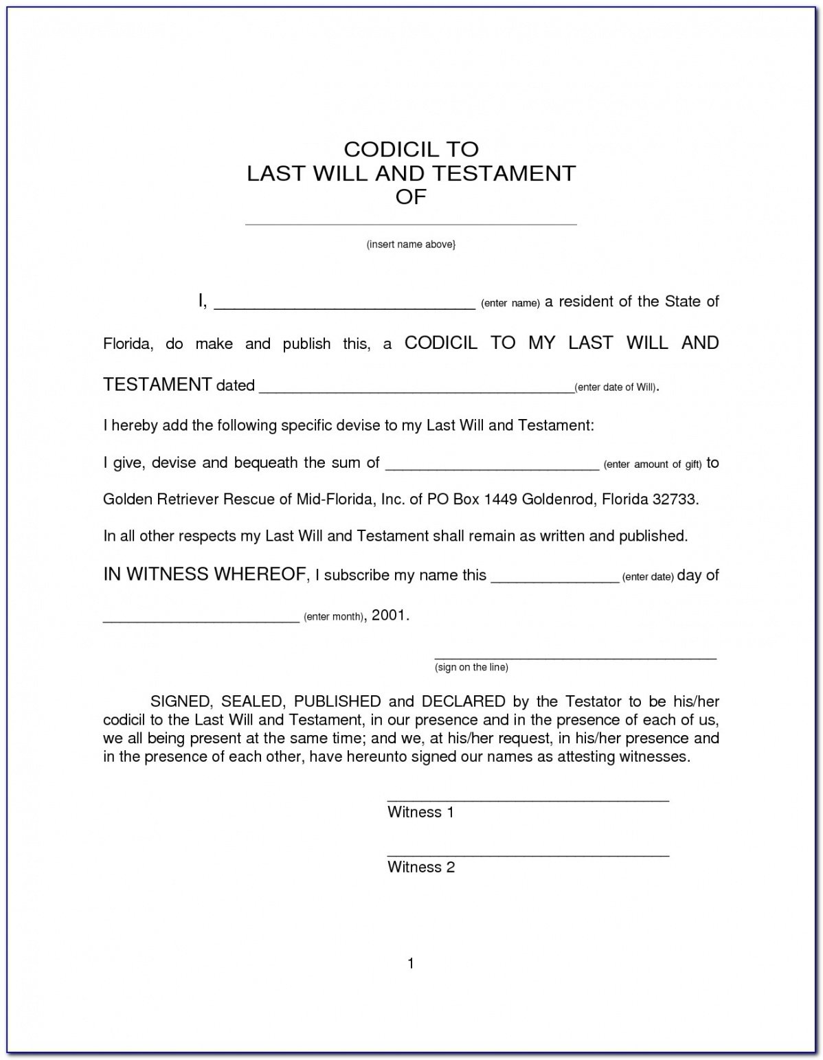 Last Will And Testament Template Uk Excel