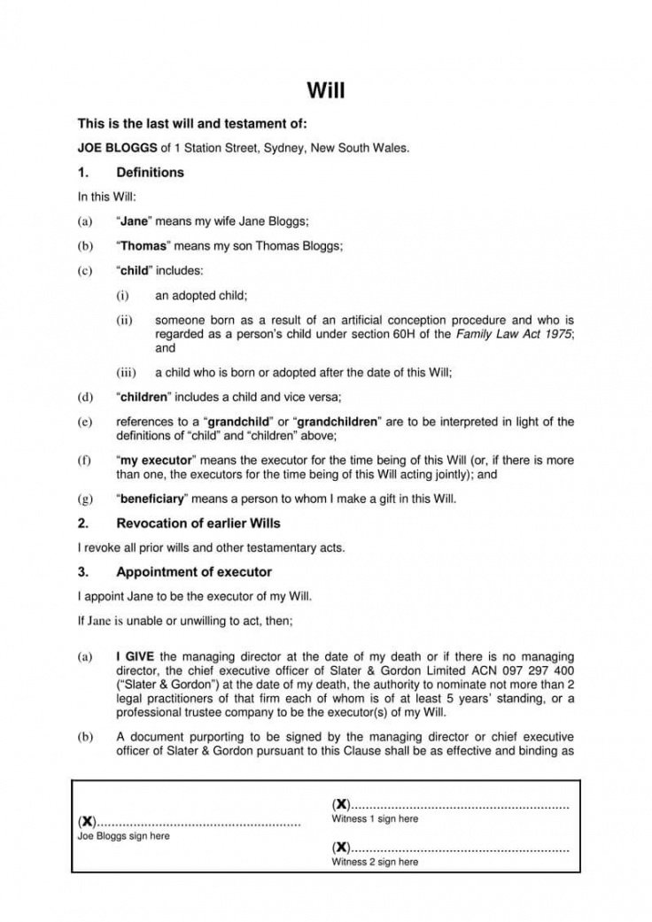 Printable Last Will And Testament Template South Carolina Word Sample