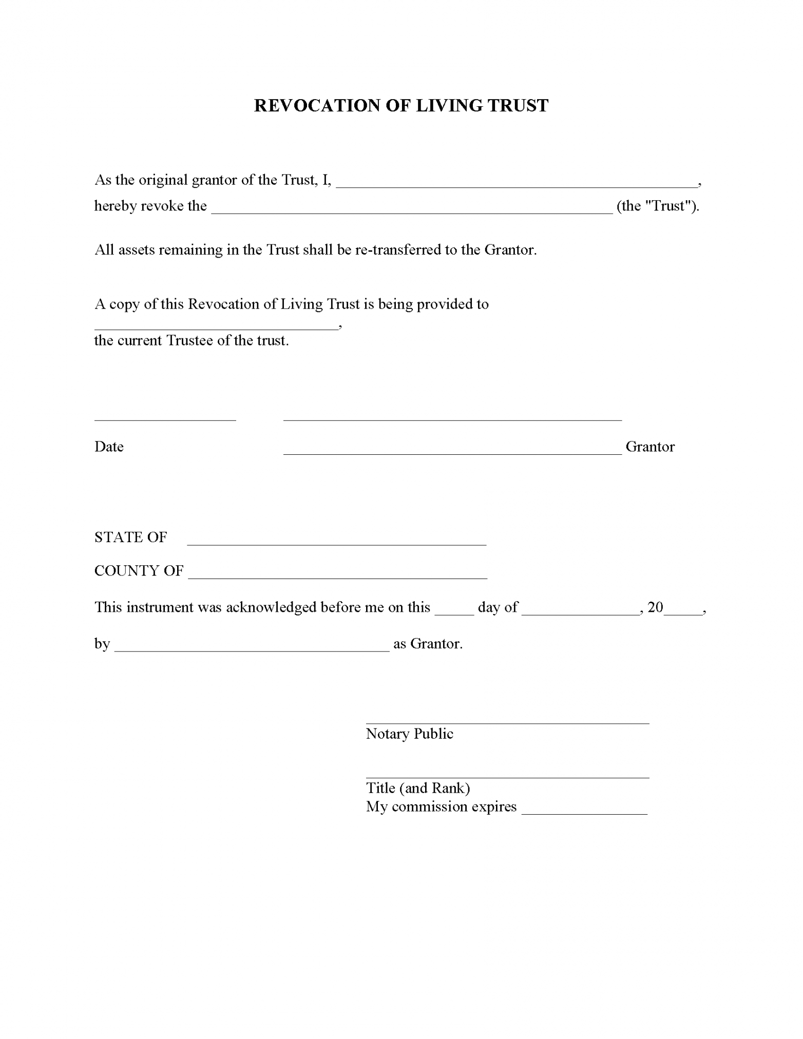 Printable Living Will And Trust Template Pdf Sample