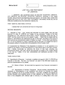 Printable Will And Testament Template Australia Doc Example