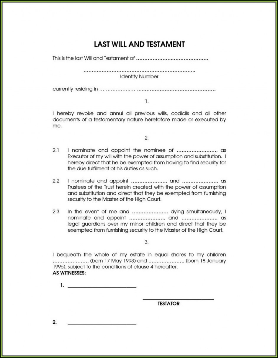 Professional Washington State Last Will And Testament Template Excel