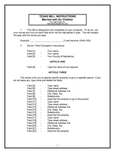 Texas Last Will And Testament Template  Sample