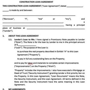 Editable Construction Loan Agreement Template Word Example