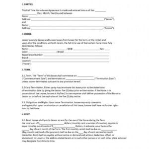 Printable Equine Lease Agreement Template Excel Example