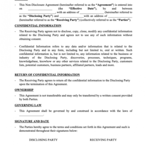 Printable Proprietary Information Agreement Template Word